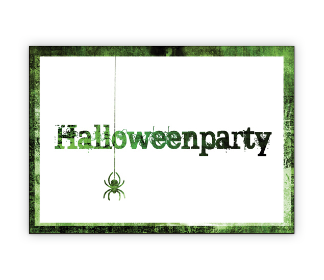 Gruselige grüne Party Einladungskarte: Halloweenparty 1